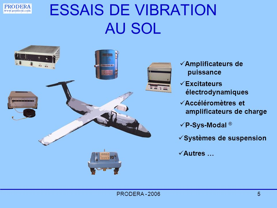 PRODERA - 20065 ESSAIS DE VIBRATION AU SOL Amplificateurs de puissance Excitateurs électrodynamiques Accéléromètres et amplificateurs de charge Autres