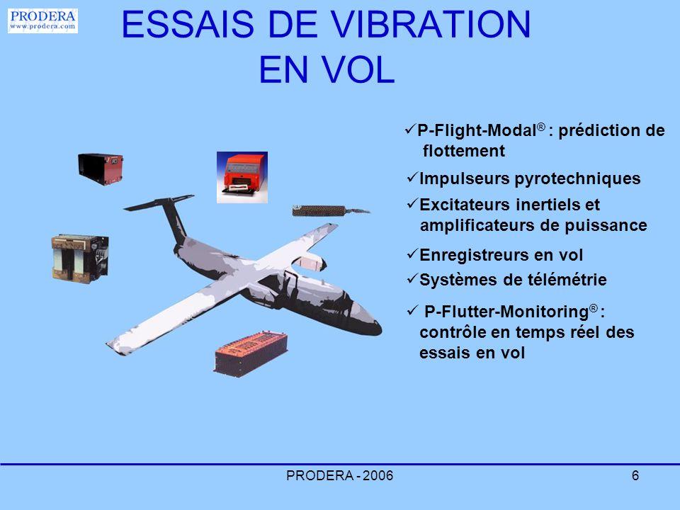 PRODERA - 20066 ESSAIS DE VIBRATION EN VOL Impulseurs pyrotechniques Excitateurs inertiels et amplificateurs de puissance Enregistreurs en vol Système