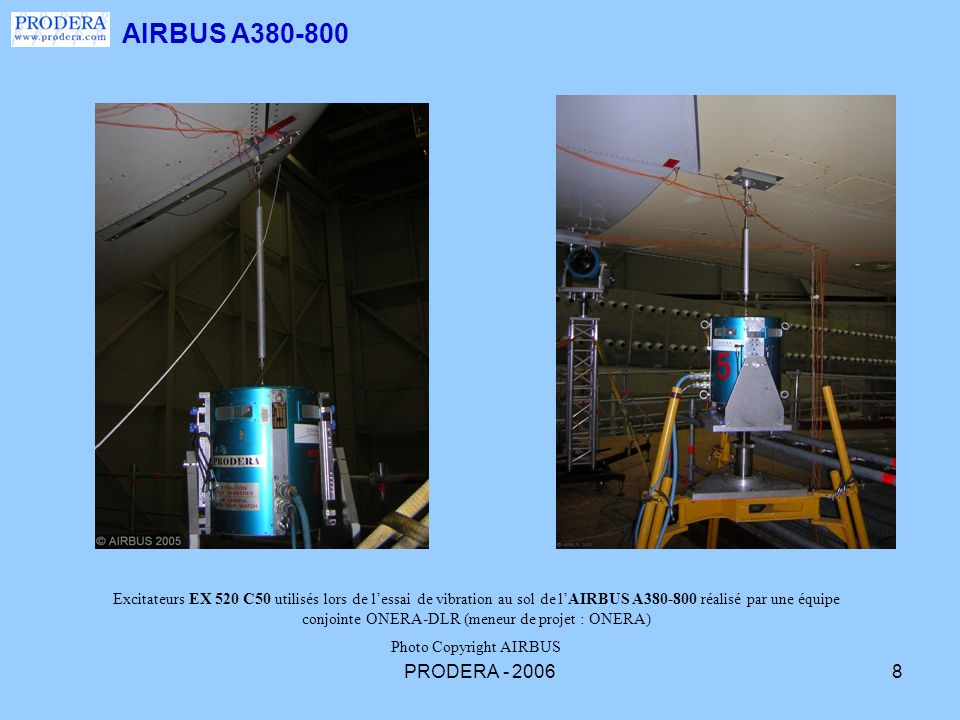 PRODERA - 20069 Excitation verticale (excitateur 1000N EX 420 C) et latérale (excitateur 550 N EX 520 C 50) du moteur Rolls Royce interne gauche pendant lessai de vibration au sol de lAIRBUS A 340/600 réalisé en février 2001 à Toulouse (réalisation ONERA).