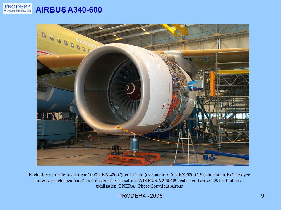 PRODERA - 200610 AIRBUS A318 Excitations horizontale, latérale et verticale dun moteur pendant lessai de vibration au sol de lAIRBUS A 318 réalisé par DLR.