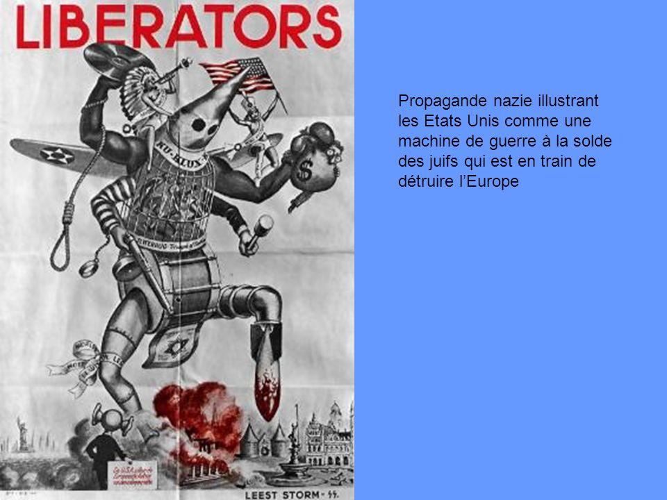 Propagande nazie illustrant les Etats Unis comme une machine de guerre à la solde des juifs qui est en train de détruire lEurope