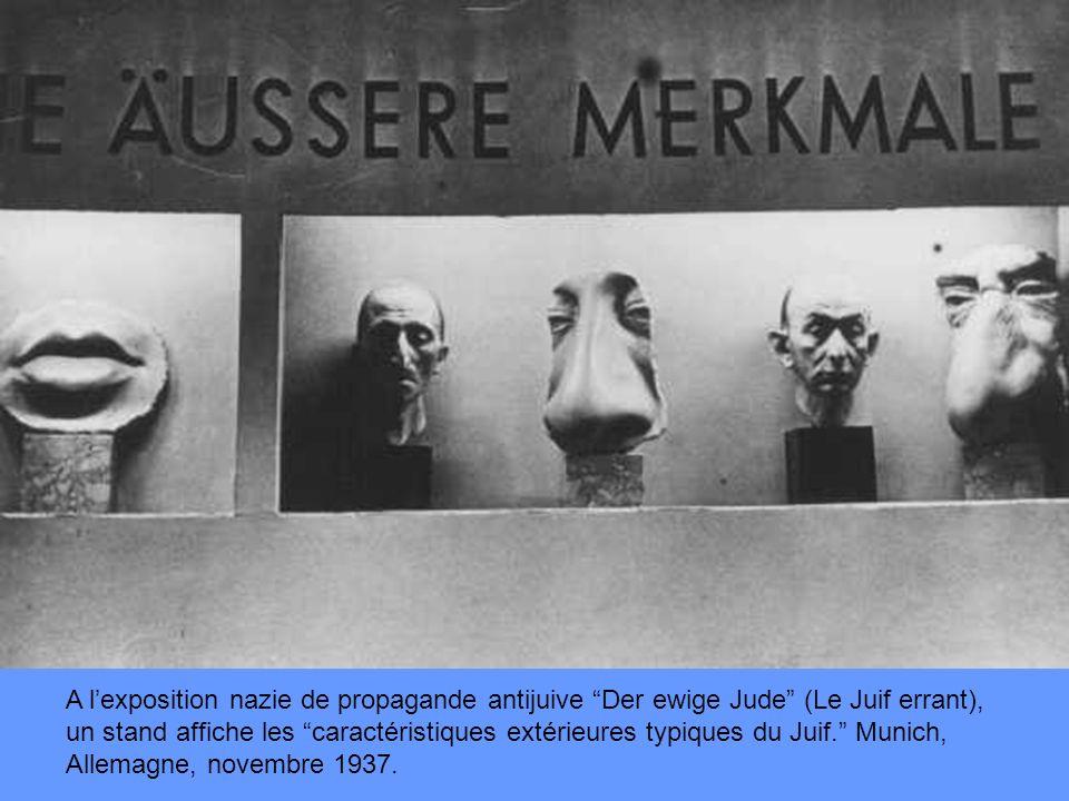 A lexposition nazie de propagande antijuive Der ewige Jude (Le Juif errant), un stand affiche les caractéristiques extérieures typiques du Juif.