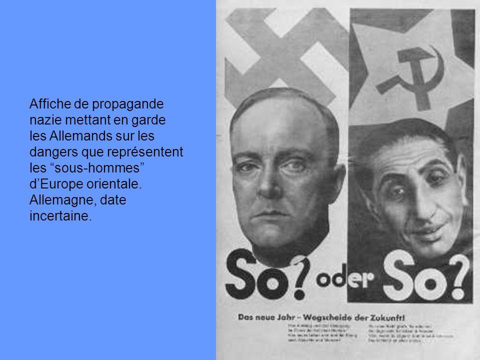 Affiche de propagande nazie mettant en garde les Allemands sur les dangers que représentent les sous-hommes dEurope orientale. Allemagne, date incerta