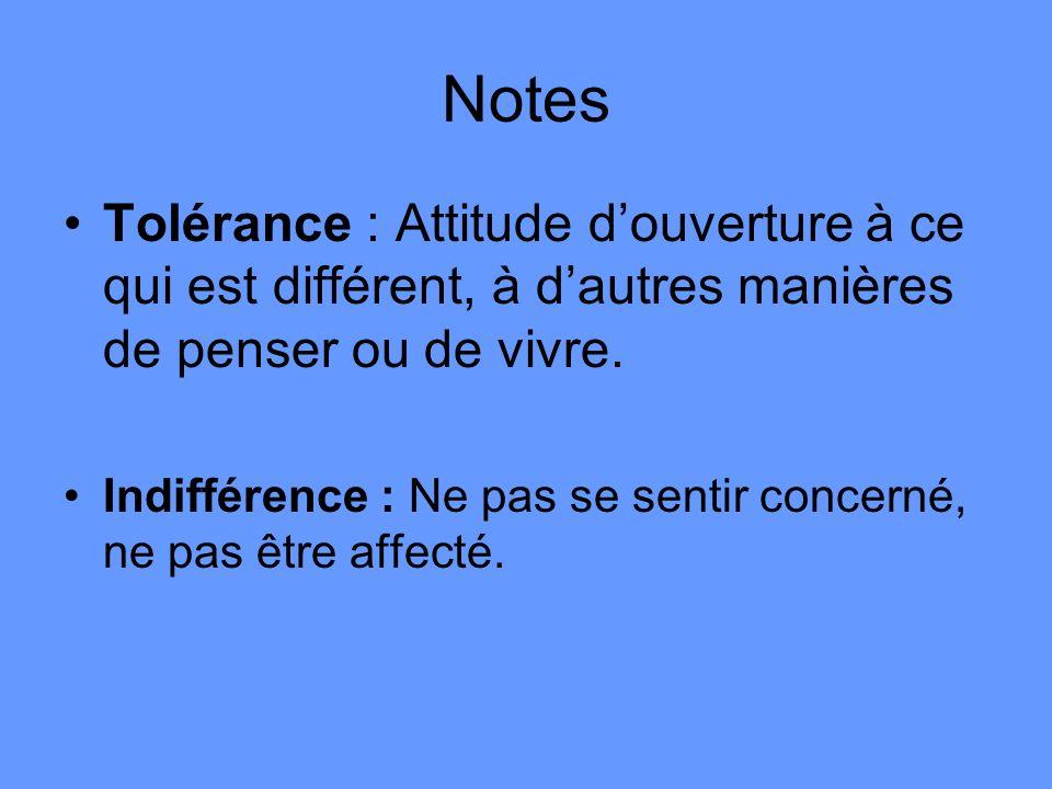 Notes Tolérance : Attitude douverture à ce qui est différent, à dautres manières de penser ou de vivre. Indifférence : Ne pas se sentir concerné, ne p
