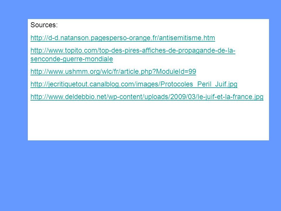 Sources: http://d-d.natanson.pagesperso-orange.fr/antisemitisme.htm http://www.topito.com/top-des-pires-affiches-de-propagande-de-la- senconde-guerre-mondiale http://www.ushmm.org/wlc/fr/article.php?ModuleId=99 http://jecritiquetout.canalblog.com/images/Protocoles_Peril_Juif.jpg http://www.deldebbio.net/wp-content/uploads/2009/03/le-juif-et-la-france.jpg
