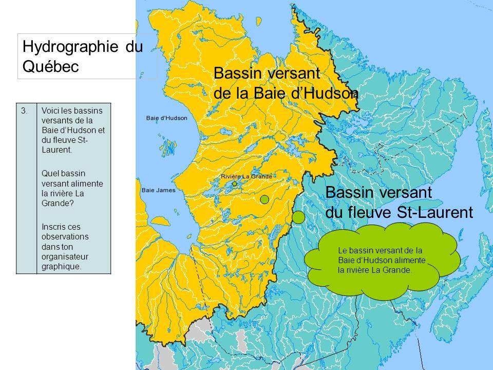3.Voici les bassins versants de la Baie dHudson et du fleuve St- Laurent. Quel bassin versant alimente la rivière La Grande? Inscris ces observations