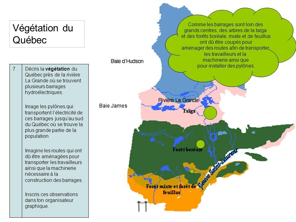 Végétation du Québec 7.Décris la végétation du Québec près de la rivière La Grande où se trouvent plusieurs barrages hydroélectriques. Image les pylôn