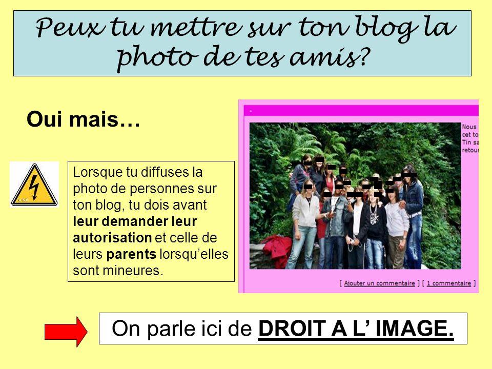 Peux tu mettre sur ton blog la photo de tes amis? Oui mais… Lorsque tu diffuses la photo de personnes sur ton blog, tu dois avant leur demander leur a