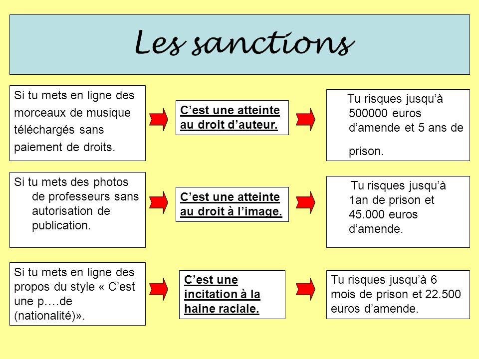Les sanctions Si tu mets en ligne des propos du style « Cest une p….de (nationalité)». Tu risques jusquà 6 mois de prison et 22.500 euros damende. Ces