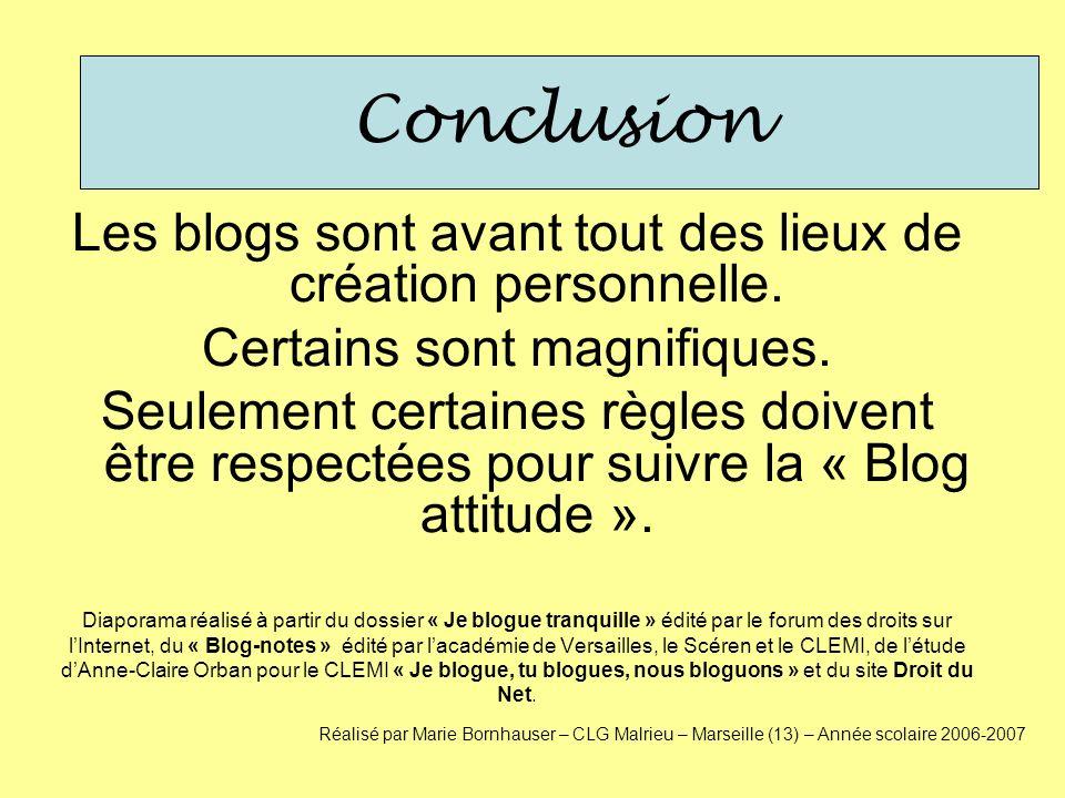 Conclusion Les blogs sont avant tout des lieux de création personnelle. Certains sont magnifiques. Seulement certaines règles doivent être respectées