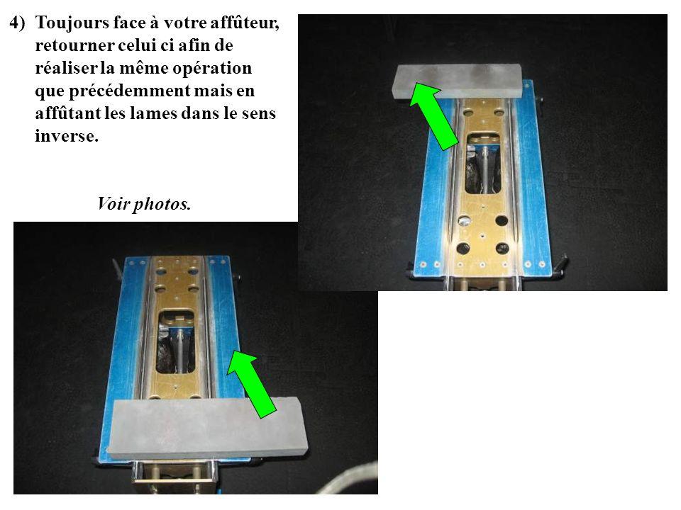 4)Toujours face à votre affûteur, retourner celui ci afin de réaliser la même opération que précédemment mais en affûtant les lames dans le sens inver