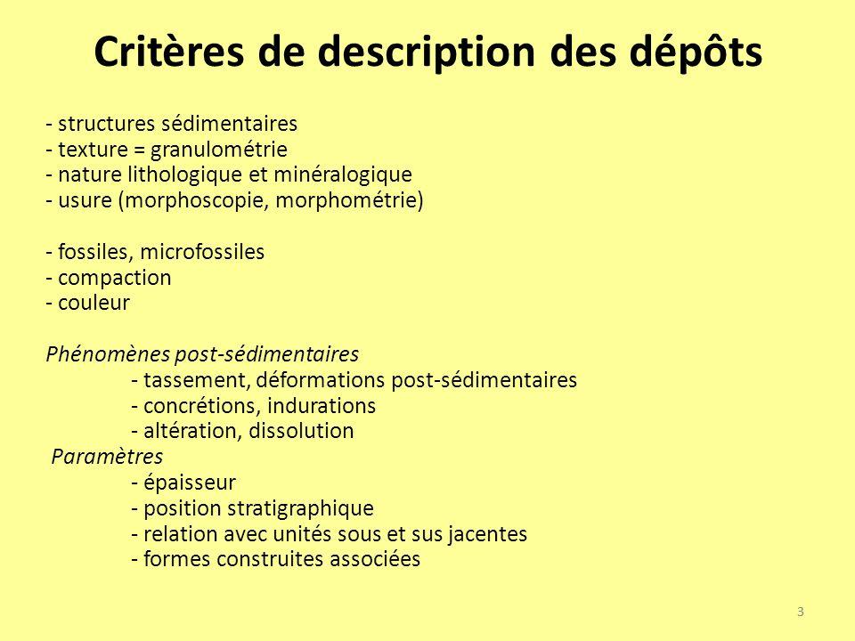 3 Critères de description des dépôts - structures sédimentaires - texture = granulométrie - nature lithologique et minéralogique - usure (morphoscopie