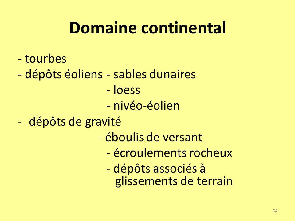 54 Domaine continental - tourbes - dépôts éoliens - sables dunaires - loess - nivéo-éolien -dépôts de gravité - éboulis de versant - écroulements roch