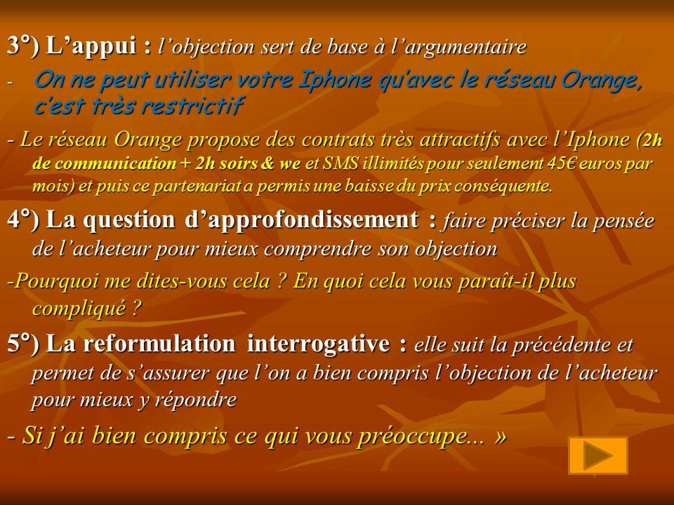 3°) Lappui : lobjection sert de base à largumentaire -O-O-O-On ne peut utiliser votre Iphone quavec le réseau Orange, cest très restrictif - Le réseau