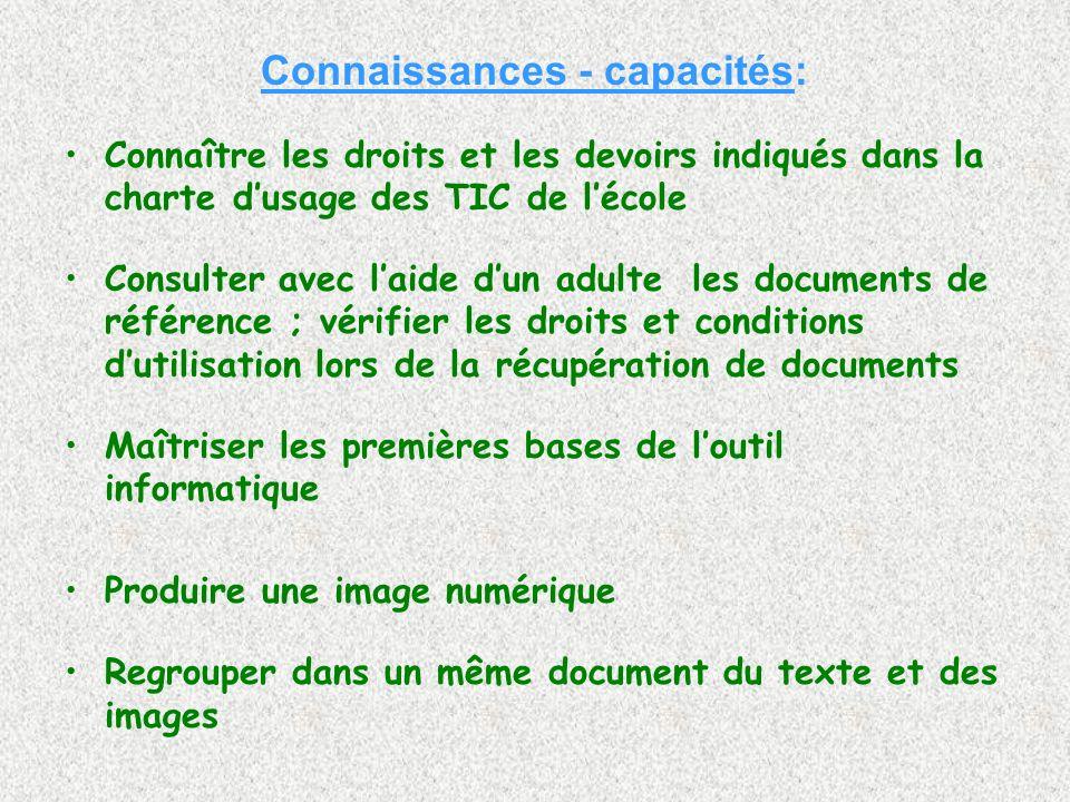 Connaissances - capacités: Connaître les droits et les devoirs indiqués dans la charte dusage des TIC de lécole Consulter avec laide dun adulte les do
