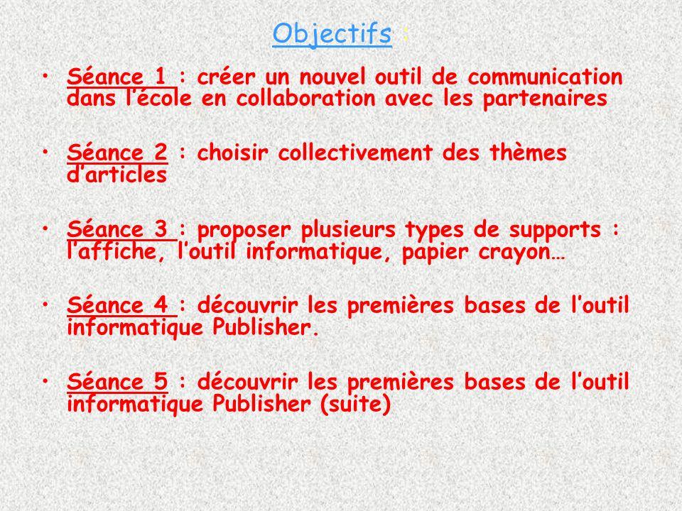 Objectifs : Séance 1 : créer un nouvel outil de communication dans lécole en collaboration avec les partenaires Séance 2 : choisir collectivement des