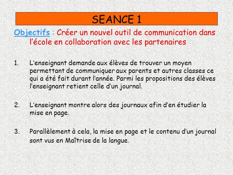 SEANCE 2 Objectifs : choisir collectivement des thèmes darticles 1.Cette séance consiste à faire un brainstorming avec les élèves concernant le contenu de ce journal.