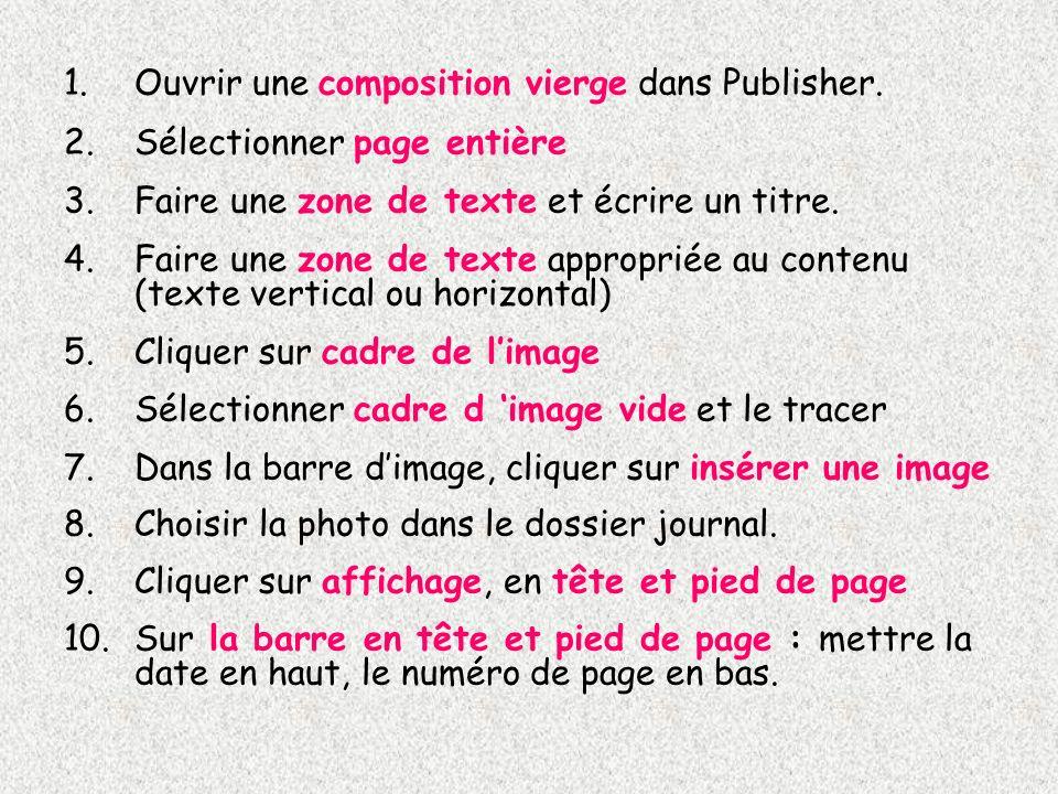 1.Ouvrir une composition vierge dans Publisher. 2.Sélectionner page entière 3.Faire une zone de texte et écrire un titre. 4.Faire une zone de texte ap