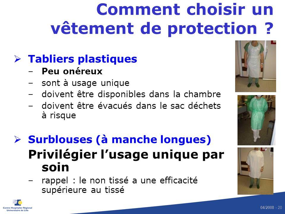 04/2008 - 20 Comment choisir un vêtement de protection .