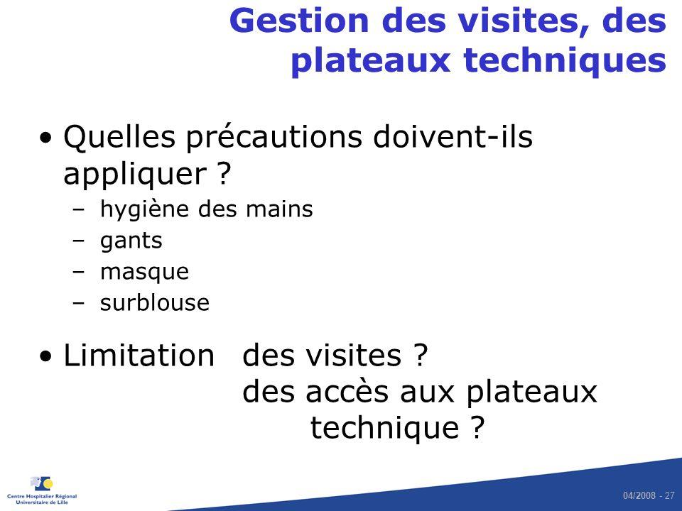 04/2008 - 27 Gestion des visites, des plateaux techniques Quelles précautions doivent-ils appliquer .