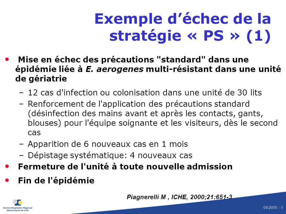 04/2008 - 9 Exemple déchec de la stratégie « PS » (1) Mise en échec des précautions standard dans une épidémie liée à E.