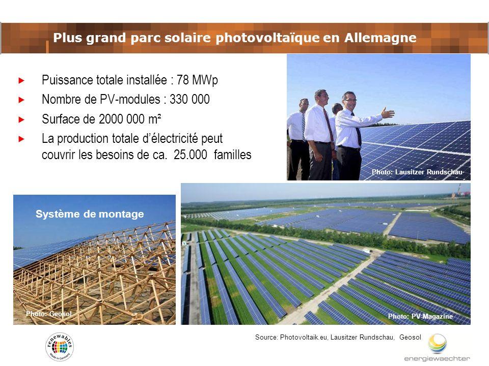 Plus grand parc solaire photovoltaïque en Allemagne Source: Photovoltaik.eu, Lausitzer Rundschau, Geosol Puissance totale installée : 78 MWp Nombre de