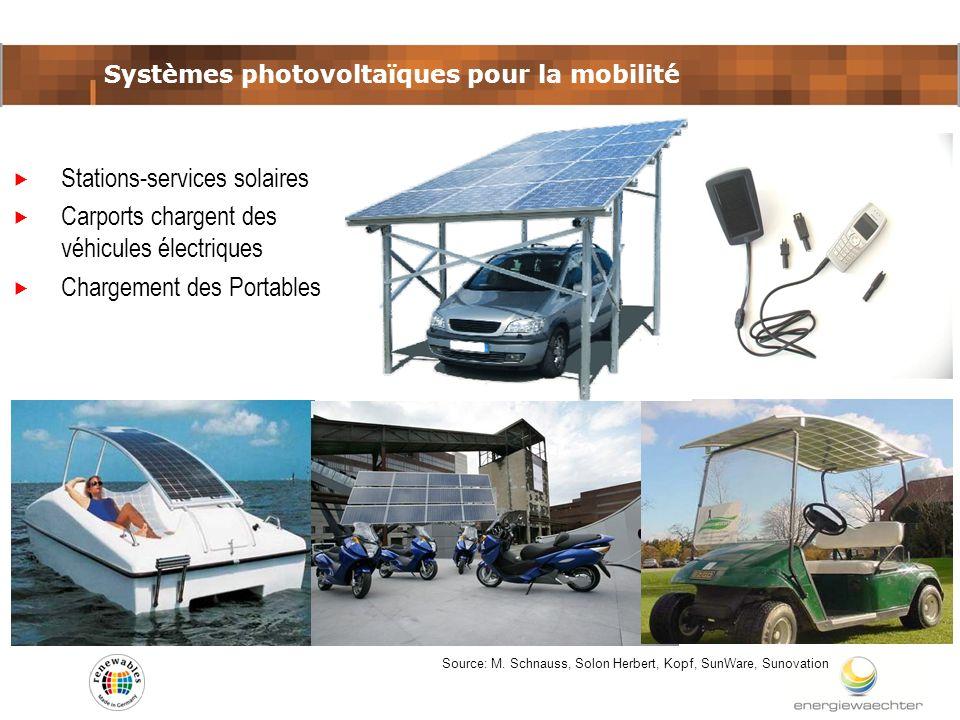 Systèmes photovoltaïques pour la mobilité Source: M. Schnauss, Solon Herbert, Kopf, SunWare, Sunovation Stations-services solaires Carports chargent d