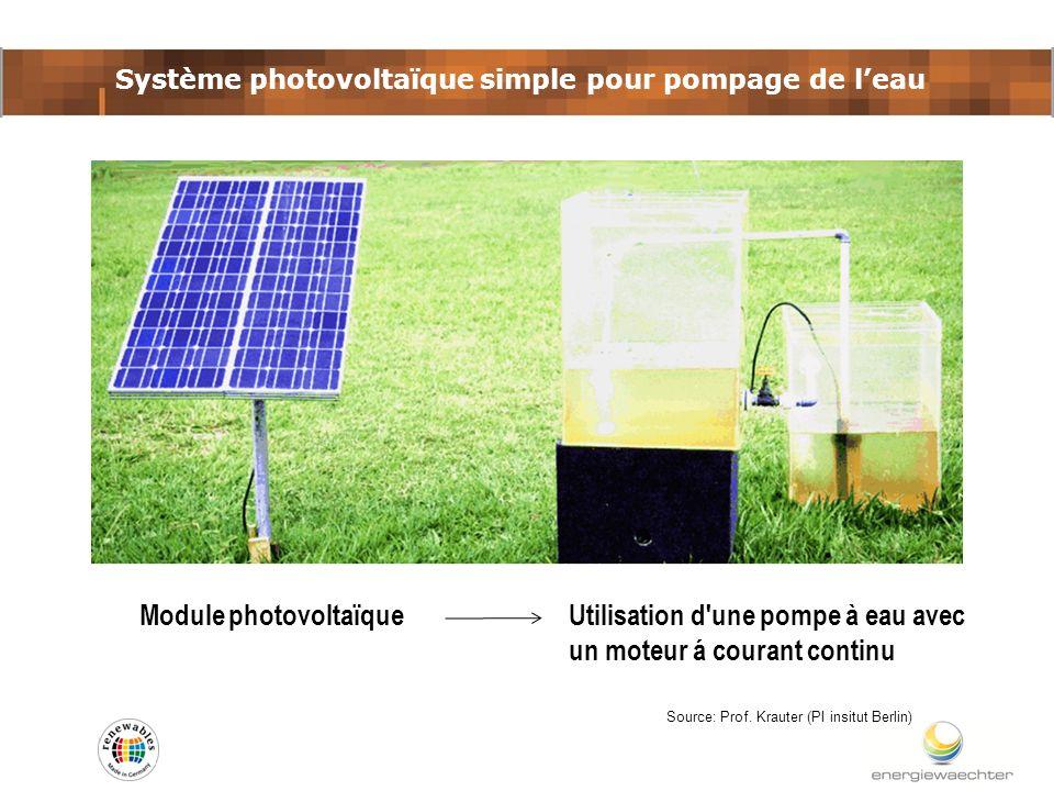 Système photovoltaïque simple pour pompage de leau Source: Prof. Krauter (PI insitut Berlin) Module photovoltaïque Utilisation d'une pompe à eau avec