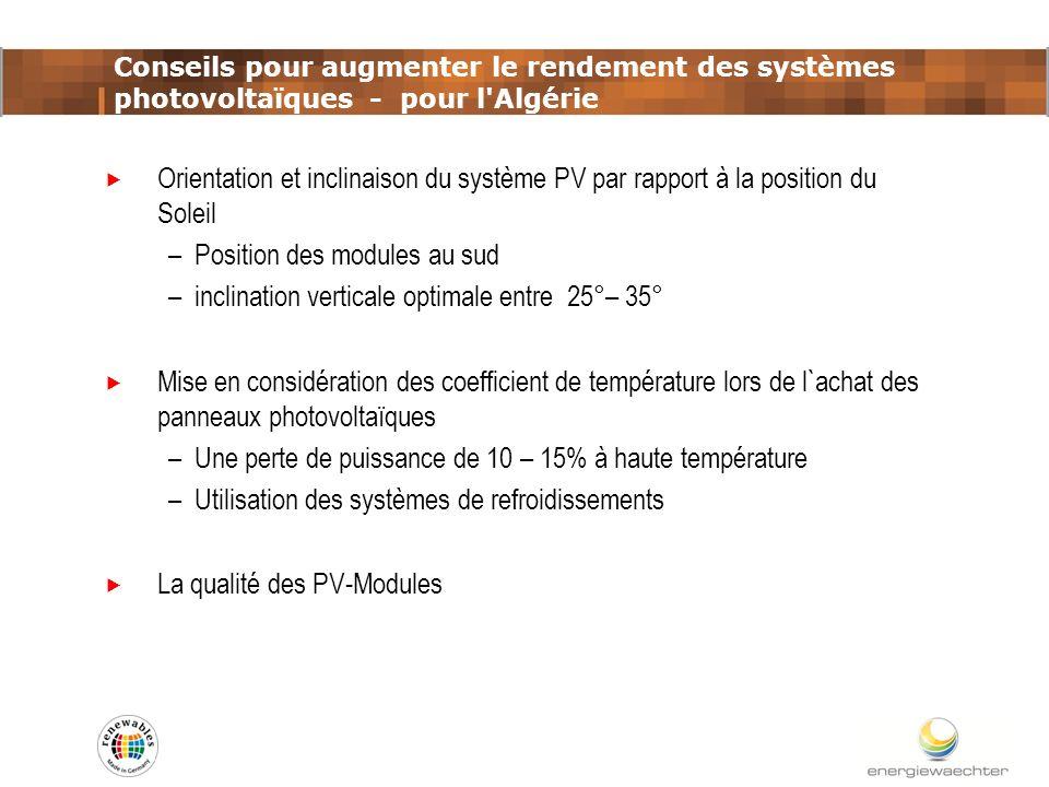 Conseils pour augmenter le rendement des systèmes photovoltaïques - pour l'Algérie Orientation et inclinaison du système PV par rapport à la position