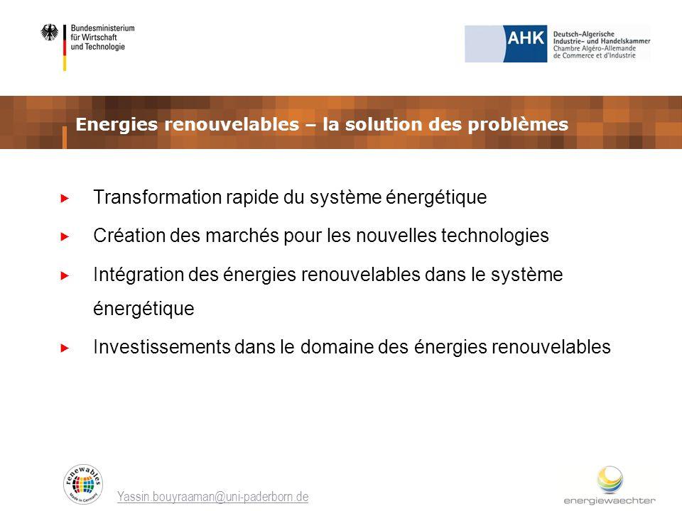 Energies renouvelables – la solution des problèmes Transformation rapide du système énergétique Création des marchés pour les nouvelles technologies I