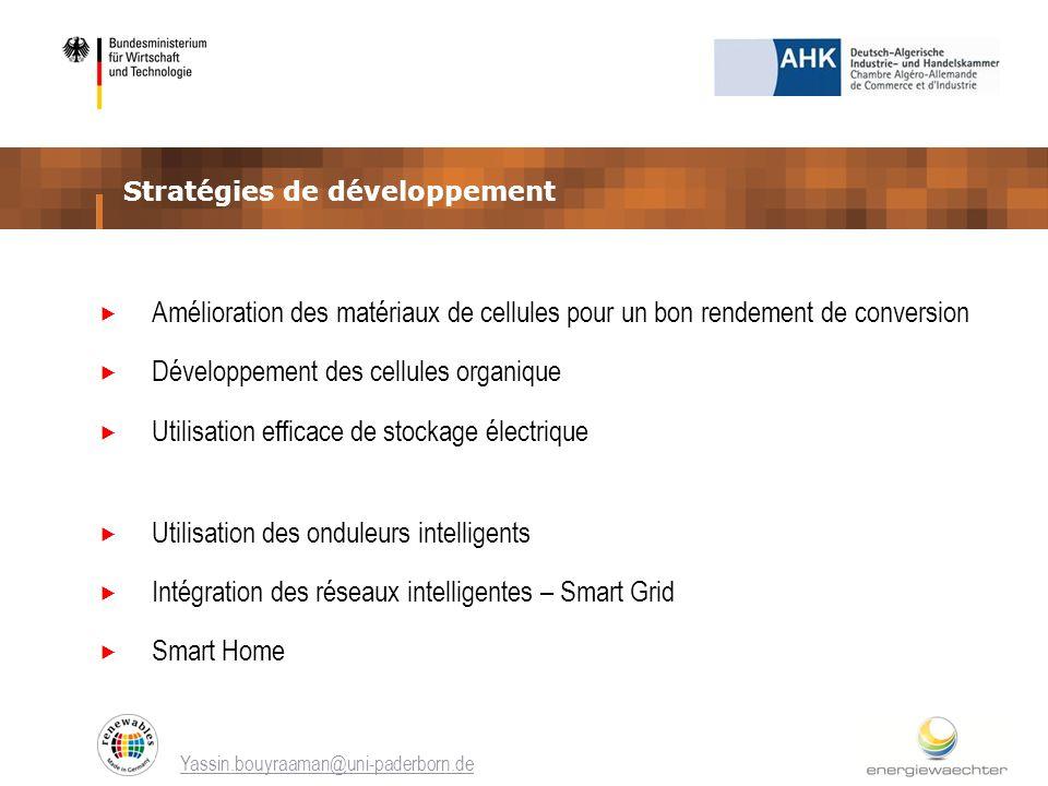 Stratégies de développement Yassin.bouyraaman@uni-paderborn.de Amélioration des matériaux de cellules pour un bon rendement de conversion Développemen