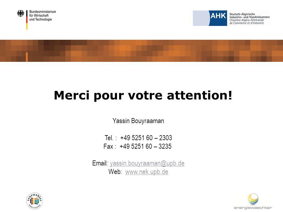 Merci pour votre attention! Yassin Bouyraaman Tel. : +49 5251 60 – 2303 Fax : +49 5251 60 – 3235 Email: yassin.bouyraaman@upb.deyassin.bouyraaman@upb.