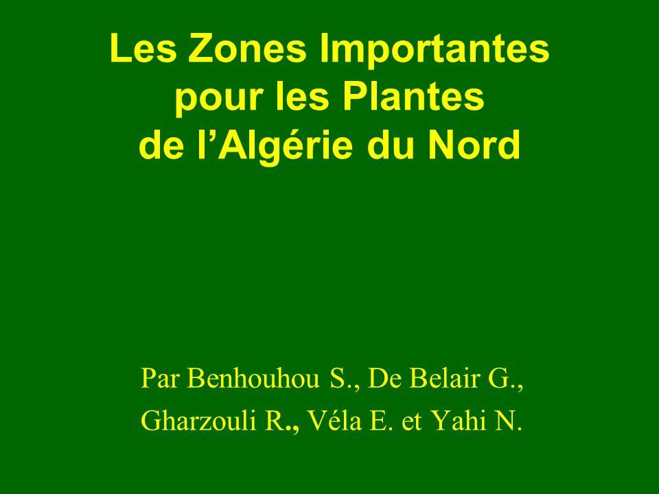 Les Zones Importantes pour les Plantes de lAlgérie du Nord Par Benhouhou S., De Belair G., Gharzouli R., Véla E. et Yahi N.