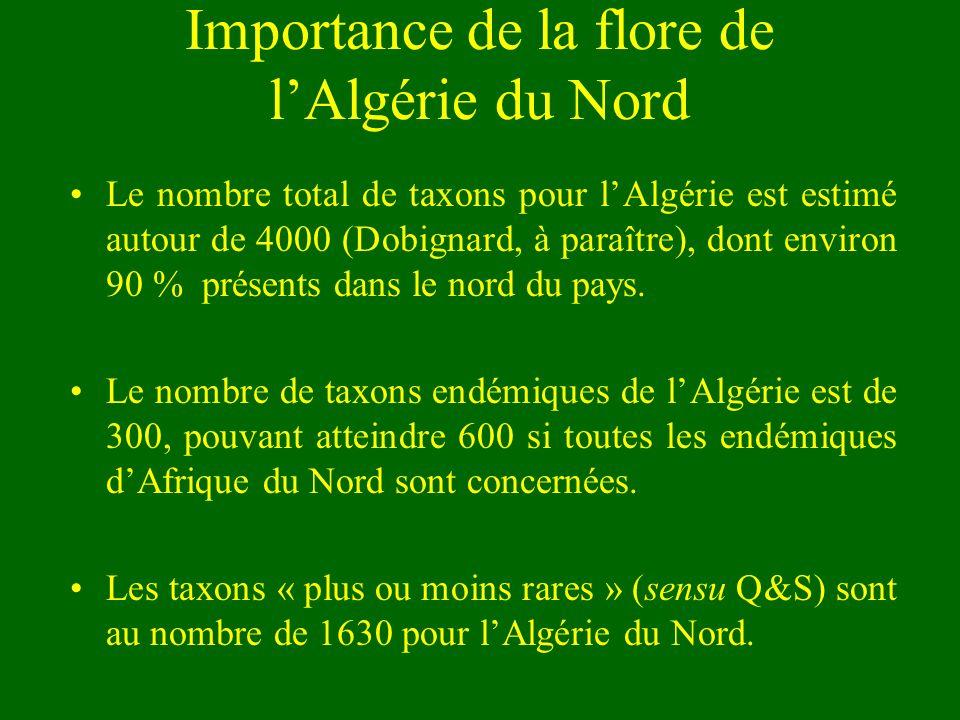 Importance de la flore de lAlgérie du Nord Le nombre total de taxons pour lAlgérie est estimé autour de 4000 (Dobignard, à paraître), dont environ 90