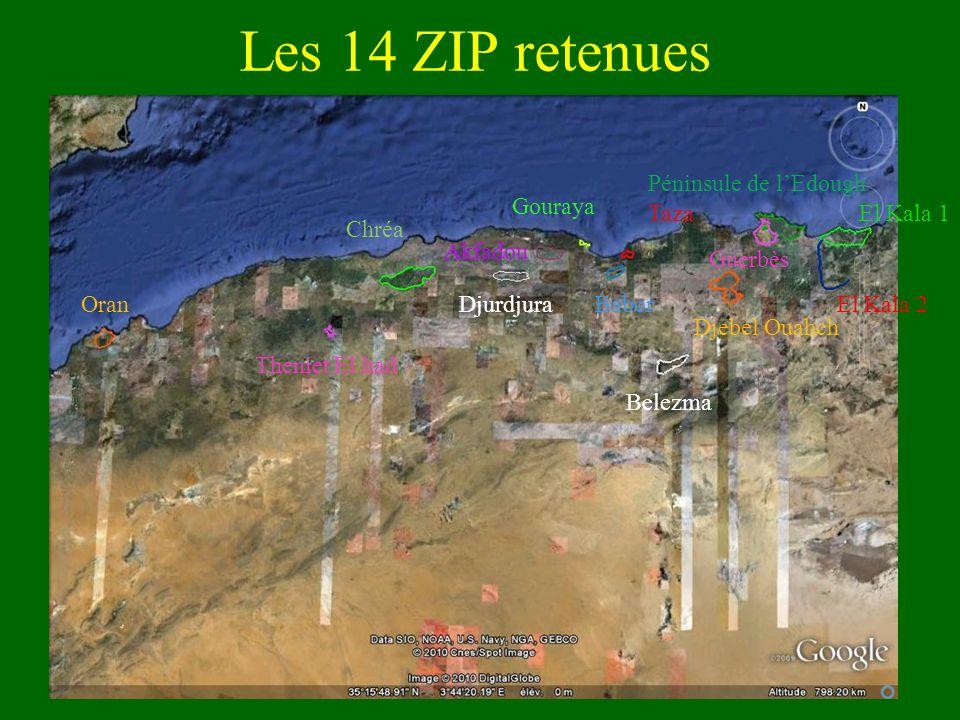 Les 14 ZIP retenues Oran Theniet El had Chréa Djurdjura Gouraya Taza Babor Belezma Djebel Ouahch Péninsule de lEdough Guerbès El Kala 1 El Kala 2 Akfa