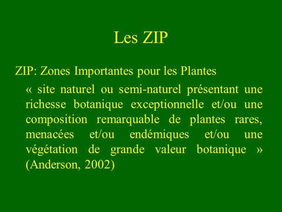 Objectifs du programme ZIP Identifier et conserver les sites les plus importants sur le plan de la richesse floristique à travers le monde Cette richesse concerne : –Les plantes vasculaires –Les bryophytes –Les lichens –Les algues –Les champignons