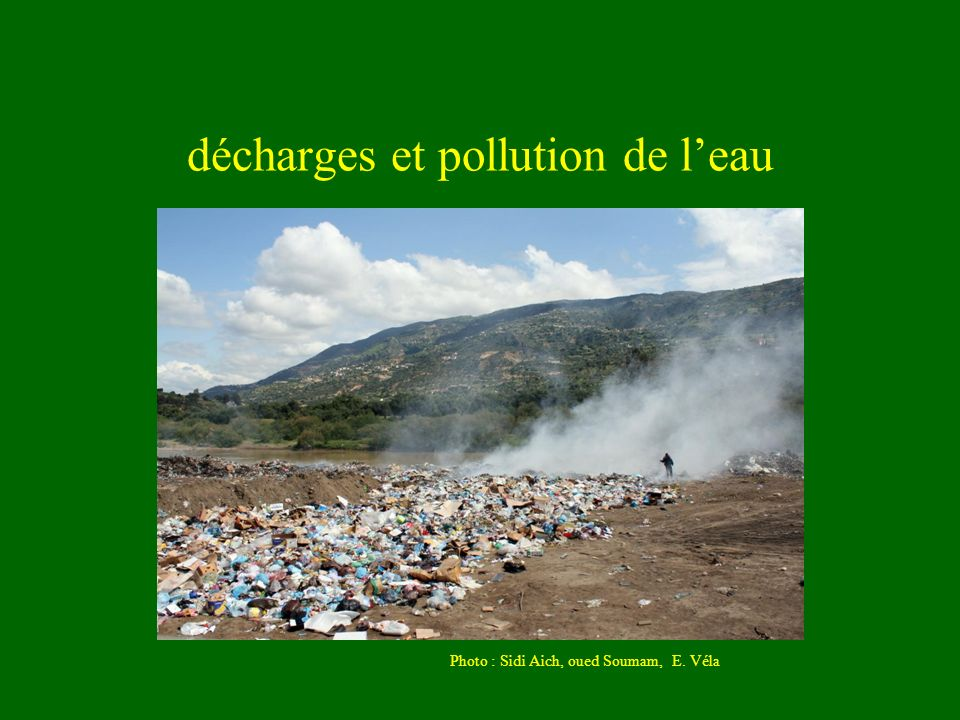 décharges et pollution de leau Photo : Sidi Aich, oued Soumam, E. Véla