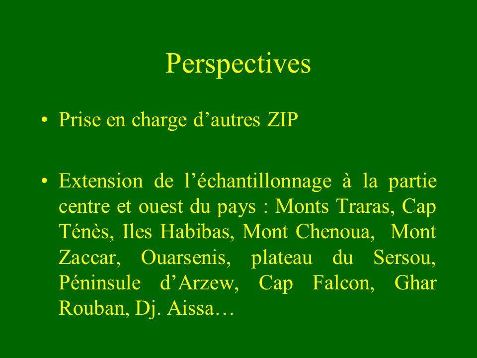 Perspectives Prise en charge dautres ZIP Extension de léchantillonnage à la partie centre et ouest du pays : Monts Traras, Cap Ténès, Iles Habibas, Mo