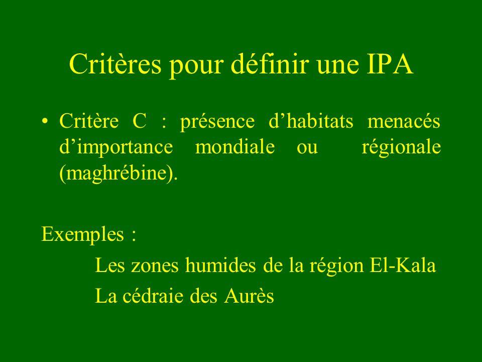Critères pour définir une IPA Critère C : présence dhabitats menacés dimportance mondiale ou régionale (maghrébine). Exemples : Les zones humides de l
