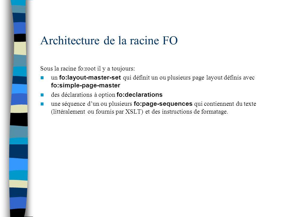 Architecture de la racine FO Sous la racine fo:root il y a toujours: un fo:layout-master-set qui définit un ou plusieurs page layout définis avec fo:s