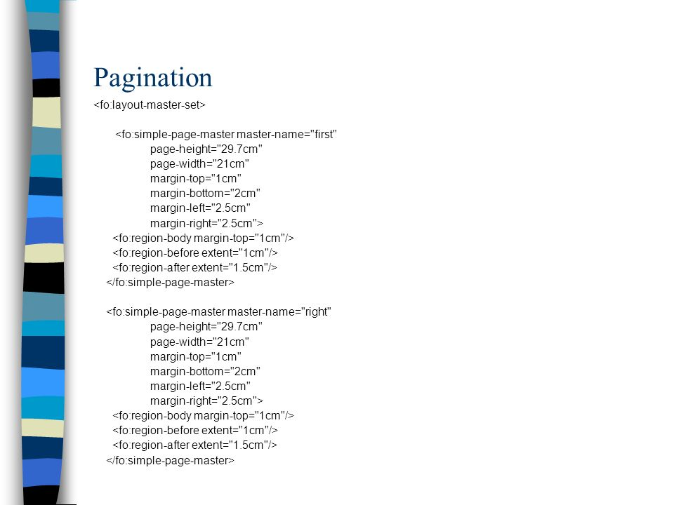 Pagination <fo:simple-page-master master-name=
