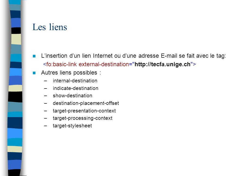 Les liens Linsertion dun lien Internet ou dune adresse E-mail se fait avec le tag: Autres liens possibles : – internal-destination – indicate-destinat