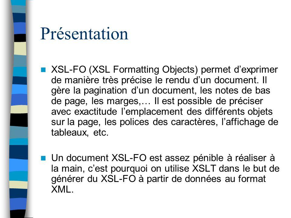 Présentation XSL-FO (XSL Formatting Objects) permet dexprimer de manière très précise le rendu dun document. Il gère la pagination dun document, les n