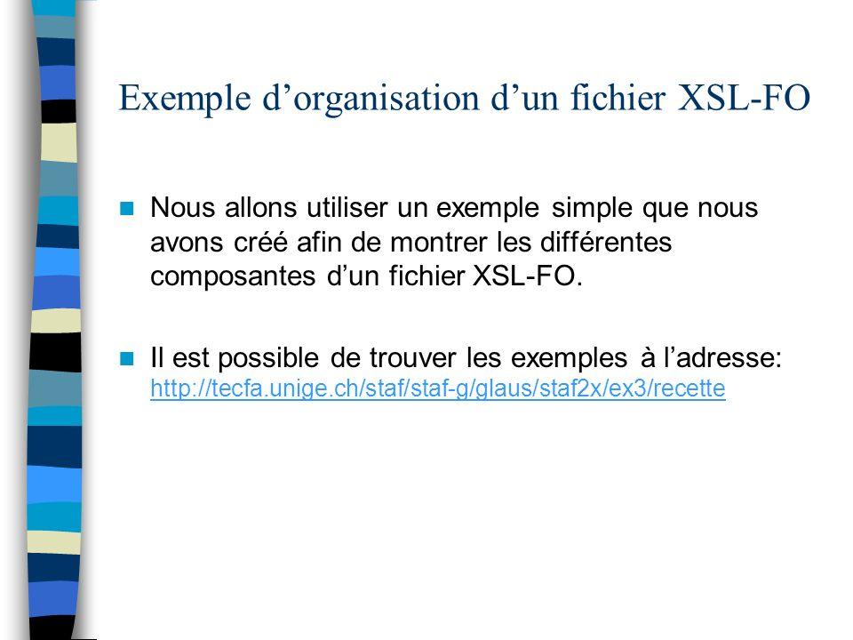 Exemple dorganisation dun fichier XSL-FO Nous allons utiliser un exemple simple que nous avons créé afin de montrer les différentes composantes dun fi