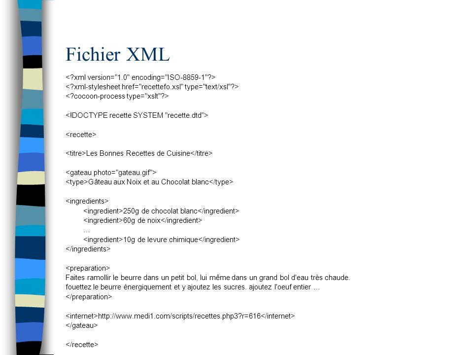Feuille de style XSL-FO On appelle une page XSL-FO de la manière suivante: <xsl:stylesheet version= 1.0 xmlns:xsl= http://www.w3.org/1999/XSL/Transform xmlns:fo= http://www.w3.org/1999/XSL/Format > type= text/xslfo