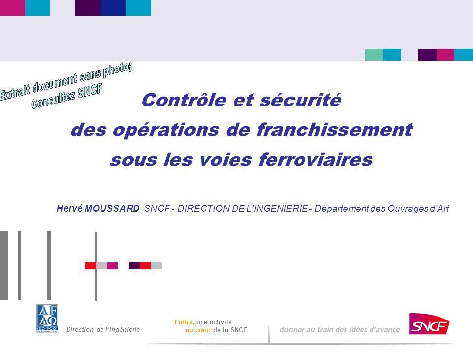 Direction de lIngénierie linfra, une activité au cœur de la SNCF Contrôle et sécurité des opérations de franchissement sous les voies ferroviaires Her
