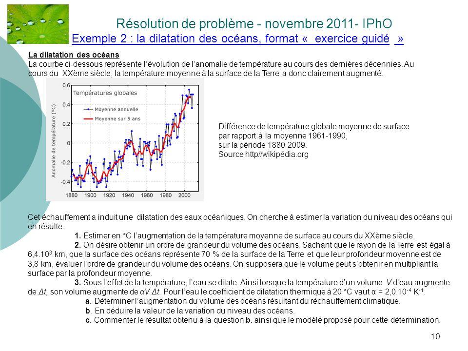 10 Exemple 2 : la dilatation des océans, format « exercice guidé » Résolution de problème - novembre 2011- IPhO.