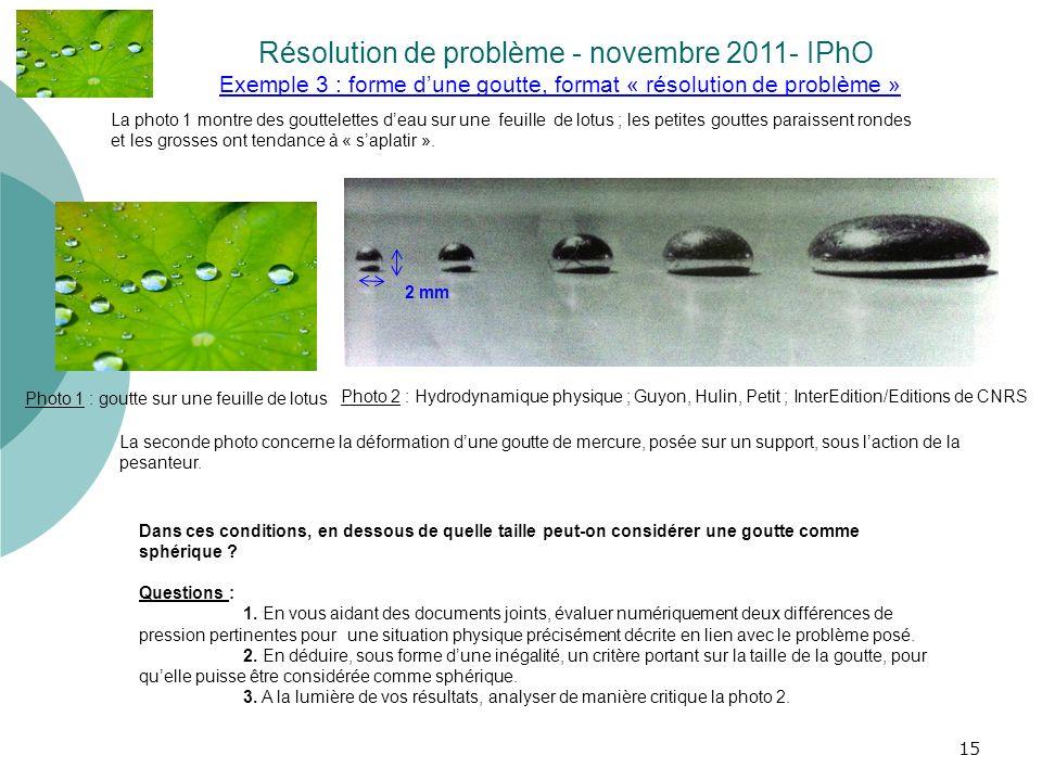 15 Exemple 3 : forme dune goutte, format « résolution de problème » Résolution de problème - novembre 2011- IPhO. Photo 2 : Hydrodynamique physique ;