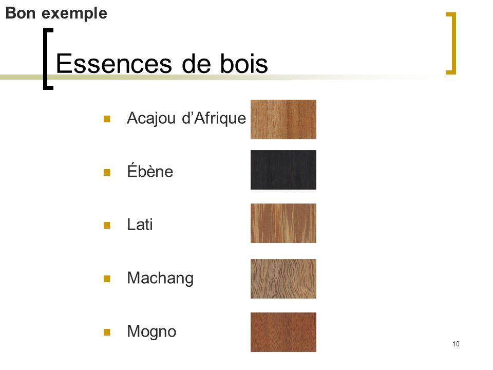 10 Essences de bois Acajou dAfrique Ébène Lati Machang Mogno Bon exemple