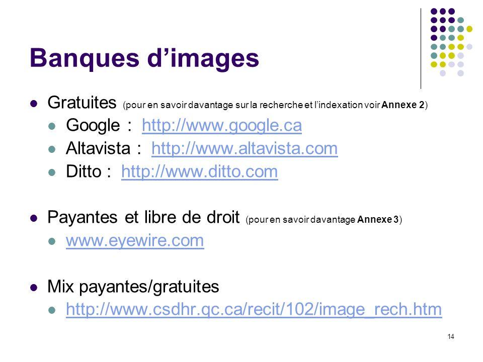 14 Banques dimages Gratuites (pour en savoir davantage sur la recherche et lindexation voir Annexe 2) Google : http://www.google.cahttp://www.google.c